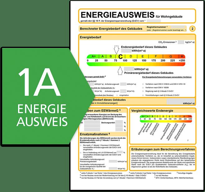 Beispiel eines Energieausweises für Wohngebäude